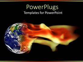 PowerPlugs: PowerPoint template with earth globe in flames
