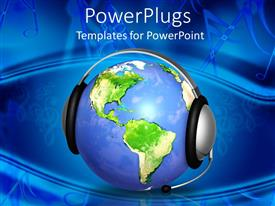 PowerPlugs: PowerPoint template with earth globe with headphones and microphone depicting customer support