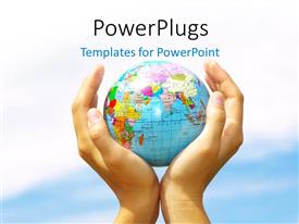 PowerPlugs: PowerPoint template with earth globe held in hand over blue cloudy sky