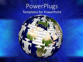 PowerPlugs: PowerPoint template with earth globe with jigsaw puzzle pattern and cuttings from famous books