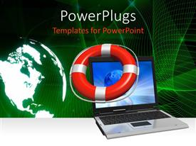 PowerPoint template displaying earth globe, life saver and laptop on abstract green background