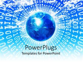 PowerPlugs: PowerPoint template with earth globe with lots of binary codes on a blue background
