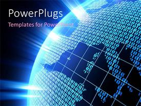 PowerPlugs: PowerPoint template with an earth globe and lots of binary numbers on a blue background