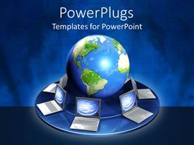 PowerPlugs: PowerPoint template with earth globe with lots of laptops open around it