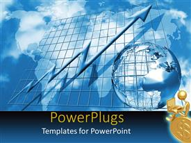PowerPoint template displaying earth globe on a metallic blue graph background with an arrow