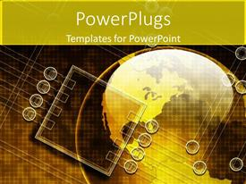 PowerPlugs: PowerPoint template with earth globe with a microchip on gold colored background