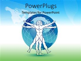 PowerPlugs: PowerPoint template with earth globe over world map in background with stylized drawing of man
