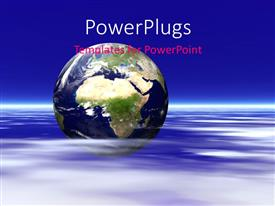 PowerPlugs: PowerPoint template with earth globe on ripples of ocean over blue background