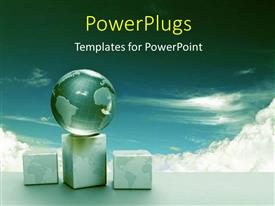 PowerPlugs: PowerPoint template with earth globe sitting on box over cloudy sky in background
