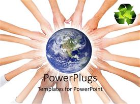 PowerPlugs: PowerPoint template with earth globe sitting on hands joined together with recycle symbol