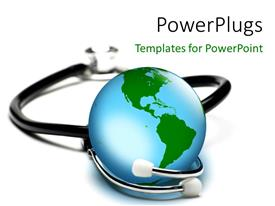 PowerPoint template displaying an earth globe with a stethoscope around it on a white background