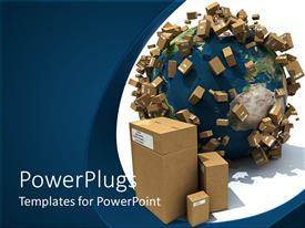 PowerPoint template displaying earth or globe surrounded with cardboard boxes