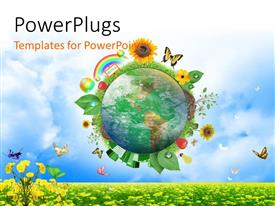 PowerPlugs: PowerPoint template with earth globe surrounded by different recycle and nature icons with clods and nature in background