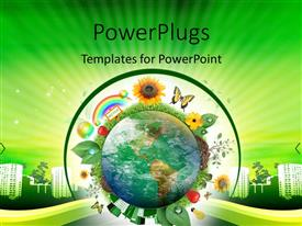 PowerPlugs: PowerPoint template with earth globe surrounded by various recycle and nature icons with buildings in background