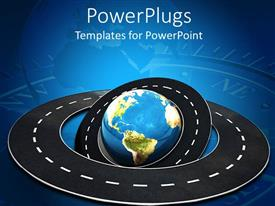 PowerPlugs: PowerPoint template with an earth globe with a tarred road as an orbit