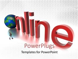 PowerPlugs: PowerPoint template with an earth globe with a text that spells out the word 'Online '