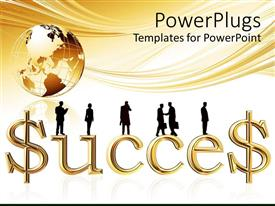 PowerPoint template displaying earth globe with text 'SUCCESS' and business men transacting