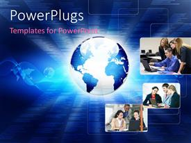 PowerPlugs: PowerPoint template with an earth globe with three tiles showing different business settings