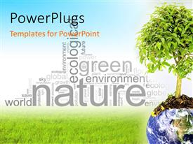 PowerPlugs: PowerPoint template with an earth globe with a tree growing out of it