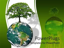 PowerPlugs: PowerPoint template with earth globe with tree growing on it on a white and green background
