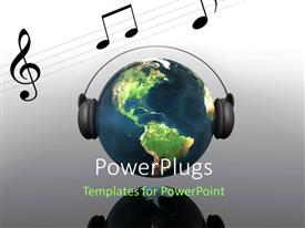 PowerPlugs: PowerPoint template with an earth globe wearing headphones with some musical notes