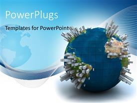 PowerPlugs: PowerPoint template with earth globe on white background with skyscrapers emerging from globe