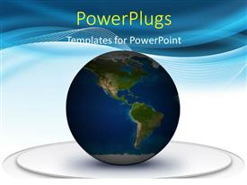PowerPlugs: PowerPoint template with earth globe on white platform over abstract colored background