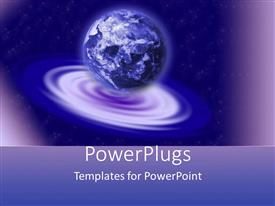 PowerPlugs: PowerPoint template with earth globe world on blue and purple ripple