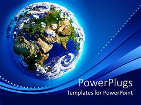 PowerPlugs: PowerPoint template with earth with Mountains, oceans, greenery and the atmosphere in sunlight