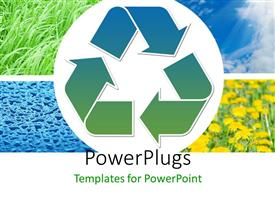 PowerPlugs: PowerPoint template with earth preservation depiction with recycle symbol on collage of nature