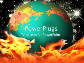PowerPoint template displaying the Earth represented in green form with fire in its bottom
