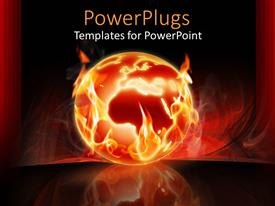PowerPlugs: PowerPoint template with the Earth s on fire with a red background and space for text