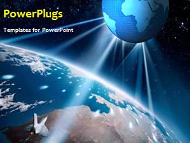PowerPlugs: PowerPoint template with earth in the space with stars in background