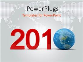 PowerPlugs: PowerPoint template with earth in year 2010, with map