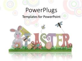 PowerPlugs: PowerPoint template with easter depiction with colorful letters forming EASTER over background with colored circles