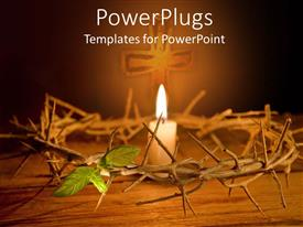 PowerPlugs: PowerPoint template with easter theme with crown of thorns and burning candle in the middle with cross in the background