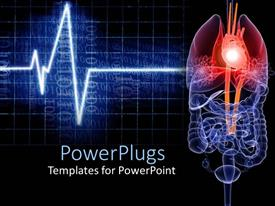 PowerPlugs: PowerPoint template with eco-cardiogram wave line beside the anatomy of a human internal organs