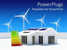 PowerPlugs: PowerPoint template with eco friendly house with solar panels with windmills in background and energy class chart near the house