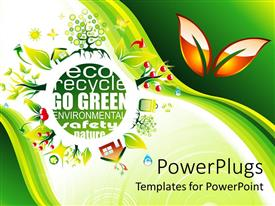 PowerPoint template displaying eco friendly save the environment  go green  green background with nature icons