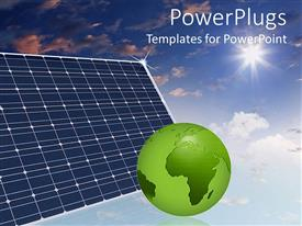 PowerPlugs: PowerPoint template with eco friendly  solar panels in the sky make the world a better place green globe save the planet