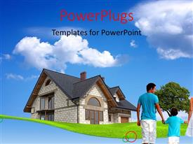 PowerPlugs: PowerPoint template with happy family of four with beautiful house over blue cloudy sky