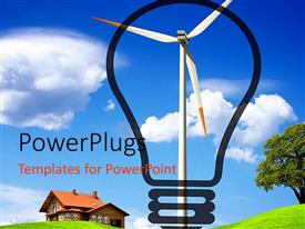 PowerPlugs: PowerPoint template with ecologic energy with windmill framed by designed classic light bulb and home scenery with tree green grass and bright blue sky