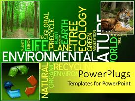 PowerPlugs: PowerPoint template with ecology collage with recycle symbol, tiger, forest in green background with words