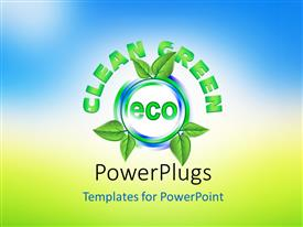 PowerPoint template displaying ecology concept with green leaves around the word ECO and nature in background