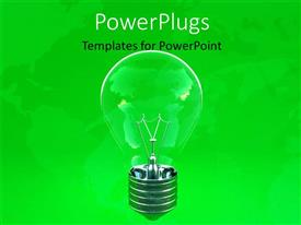 PowerPoint template displaying ecology depiction with transparent light bulb on green background