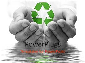 PowerPlugs: PowerPoint template with ecology metaphor with black and white hands holding recycle symbol, water conservation