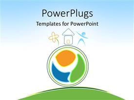 PowerPlugs: PowerPoint template with ecology preservation depiction with round colored symbol on green surface