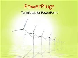 PowerPlugs: PowerPoint template with ecology preservation depiction with wind turbines in reflecting surface