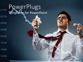 PowerPlugs: PowerPoint template with economic recession metaphor with downward trend, investor clutching money