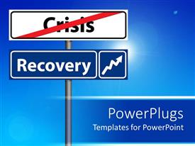 PowerPlugs: PowerPoint template with economic recovery recession metaphor with crisis and recovery street signs